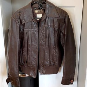Other - Vintage Unisex  genuine leather brown jacket